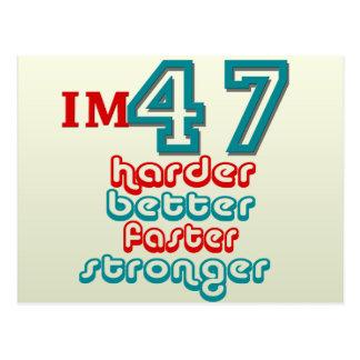 I m Fourty Seven Harder Better Faster Stronger B Postcard