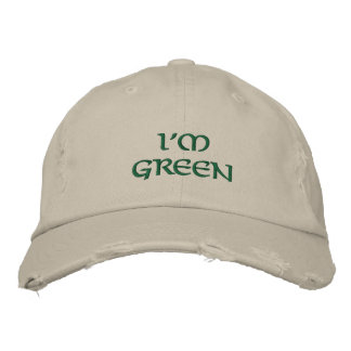 I m Green Embroidered Hat