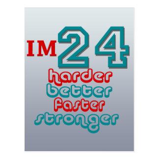 I m Twenty Four Harder Better Faster Stronger Bi Post Card