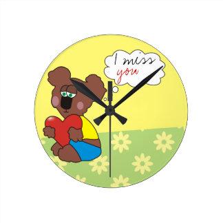 I miss you Sad Teddy Bear Cute Clock