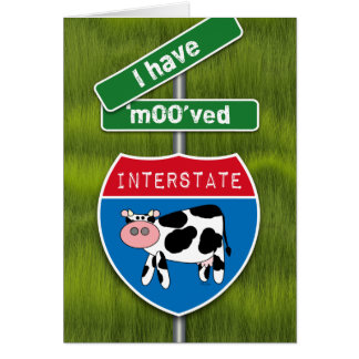 I Moved Rural Announcement Cow and Road Signs