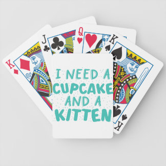 i need a cupcake and a kitten bicycle playing cards