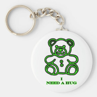 I Need A Hug Bear Green The MUSEUM Zazzle Gifts Key Chain