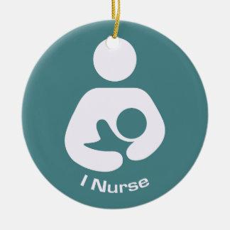 I Nurse Breastfeeding Icon - Teal Christmas Ornament