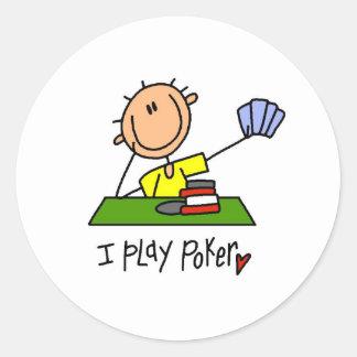I Play Poker Classic Round Sticker