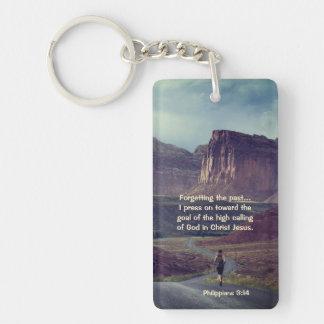 I press on toward the goal Philippians 3:14 Bible Key Ring