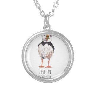 I Puffin Love You Puffin Message Round Pendant Necklace