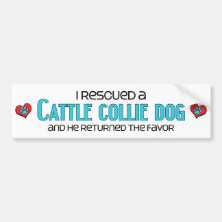 I Rescued a Cattle Collie Dog (Male) Dog Adoption Bumper Sticker