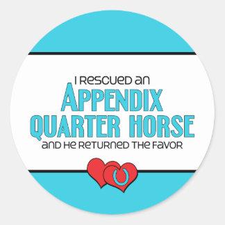 I Rescued an Appendix Quarter Horse (Male Horse) Classic Round Sticker