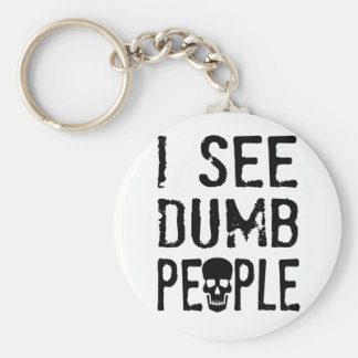 I See Dumb People Basic Round Button Key Ring