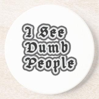 I See Dumb People Beverage Coasters