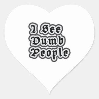 I See Dumb People Heart Sticker