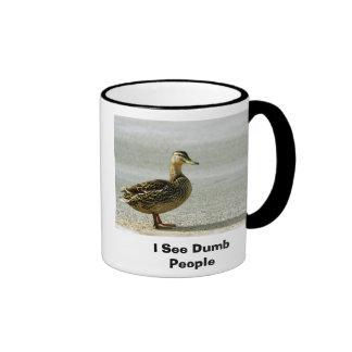 I See Dumb People Ringer Coffee Mug