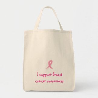 I support breast cancer aware... grocery tote bag
