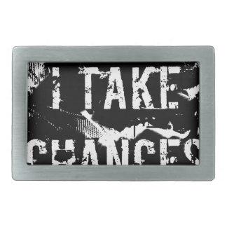 i take chances.  Feel Good.Tell the World. Rectangular Belt Buckles