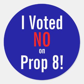 I Voted NO on Prop 8! Round Sticker