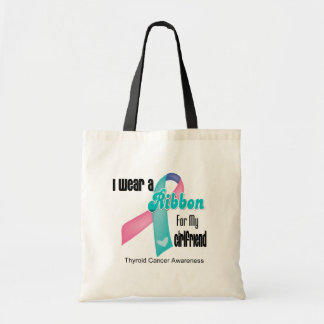 I Wear a Thyroid Cancer Ribbon For My Girlfriend Budget Tote Bag