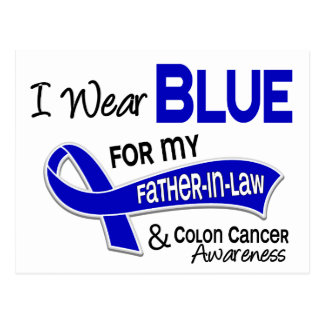I Wear Blue For My Father-In-Law 42 Colon Cancer Postcard