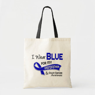 I Wear Blue For My Grandfather 42 Colon Cancer Budget Tote Bag