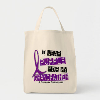 I Wear Purple For My Grandfather 37 Epilepsy Grocery Tote Bag