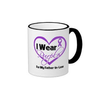 I Wear Purple Heart Ribbon - Father-in-Law Ringer Mug