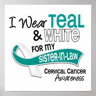 I Wear Teal White 42 Sister-In-Law Cervical Cancer Poster