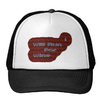 I Will Run For Wine Mesh Hats