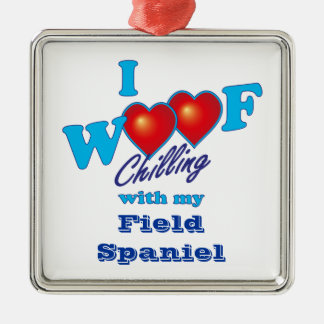 I Woof Field Spaniel Christmas Ornament