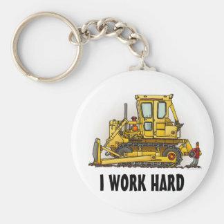 I Work Hard Bulldozer Dozer Key Chain