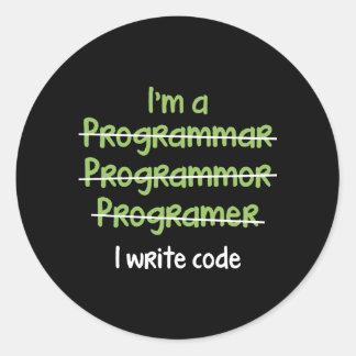 I Write Code Round Sticker
