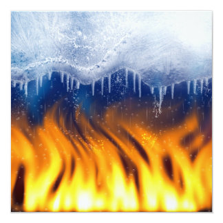 Ice and Flame 5.25x5.25 Square Paper Invitation Card