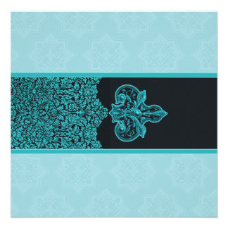 Ice Blue Indian Floral Ornament Wedding Invitation