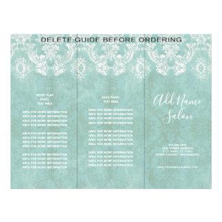 Ice Blue Vintage Damask Pattern with Grungy Finish Flyer