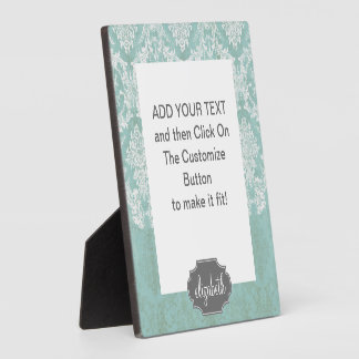 Ice Blue Vintage Damask Pattern with Grungy Finish Plaque