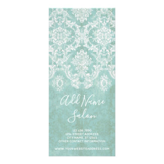 Ice Blue Vintage Damask Pattern with Grungy Finish Rack Card