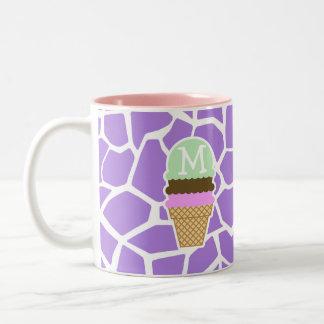 Ice Cream; Amethyst Purple Giraffe Animal Print Mug