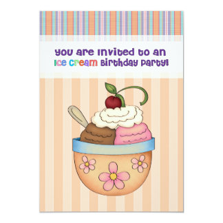 "Ice Cream Birthday Party Invitation 5"" X 7"" Invitation Card"