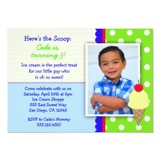 Ice Cream Birthday Party Invitations for Boys