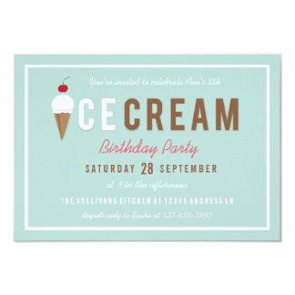 Ice Cream Cone Summer Birthday Party Invitation