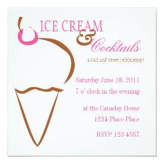 Ice Cream Lines 13 Cm X 13 Cm Square Invitation Card