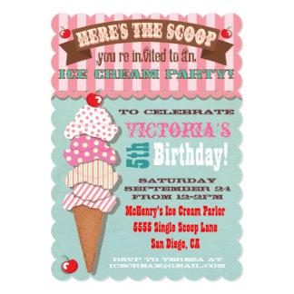 """Ice Cream Party Invitation 5"""" X 7"""" Invitation Card"""