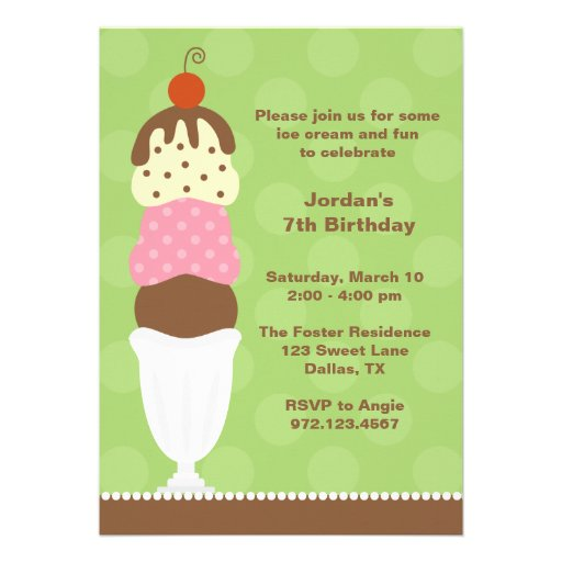 Ice Cream Party Invitation Cards