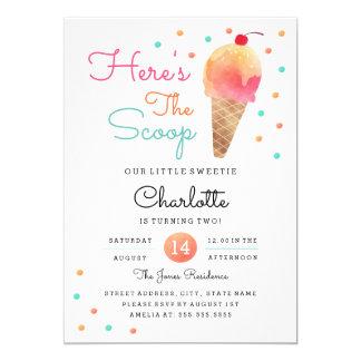 Ice Cream Party Kids Birthday Party Invitation