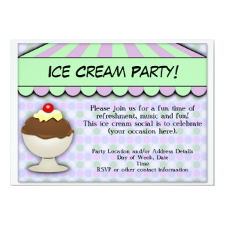 Ice Cream Party, Pastel Sweet Shoppe 13 Cm X 18 Cm Invitation Card