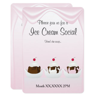 Ice Cream Party Social Custom Invitation