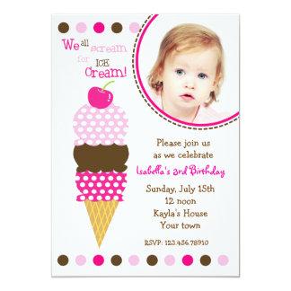 Ice Cream Photo Birthday Party Invitaitons 13 Cm X 18 Cm Invitation Card