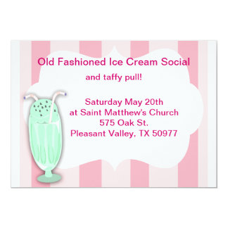 Ice Cream Social 13 Cm X 18 Cm Invitation Card