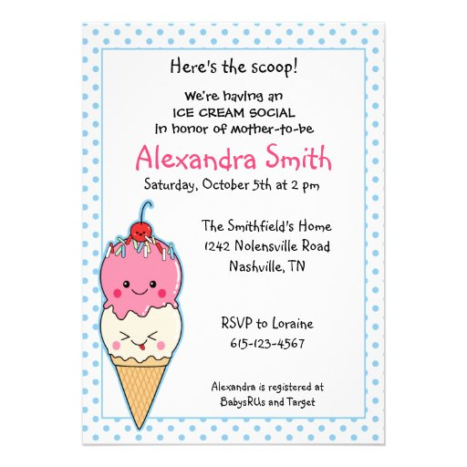 Ice Cream Social Baby Shower Personalized Invites