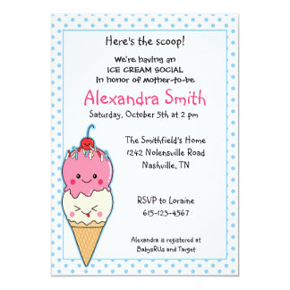 Ice Cream Social Baby Shower 5x7 Paper Invitation Card