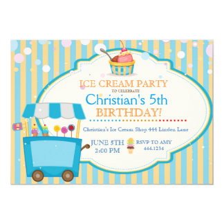 Ice Cream Social Birthday Party Boy Invitations